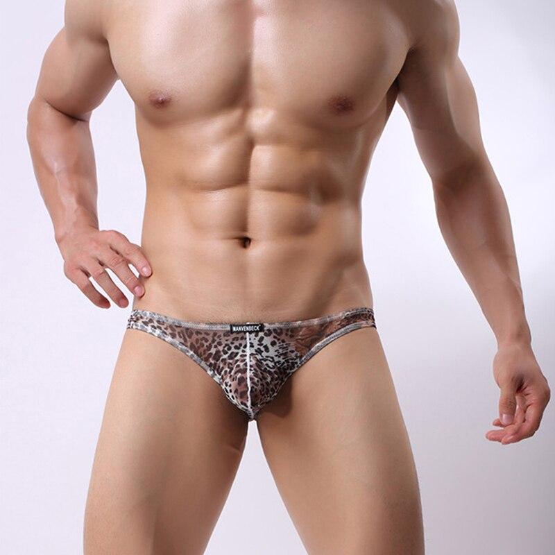 185c0bae4d60 Fashion Mens Bikini Leopard Print Briefs Underwear Male Sexy Low rise Pouch Underpants  Comfortable Thin cuecas U Convex Panties-in Briefs from Men's ...