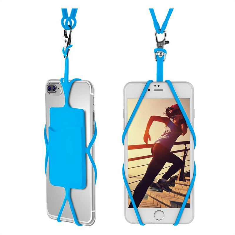Necklace Lanyard Universal Silicone phone Case For iphone X 6s 7 8 xiaomi mi6/5 redmi a5 S9 htc10 j5 j7 strap card holder pounch