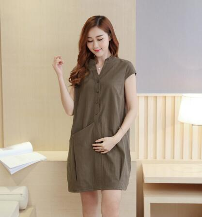 2018 Summer maternity Clothes Fashion pregnant women Dress Solid Dresses Short Sleeve Maternity clothing