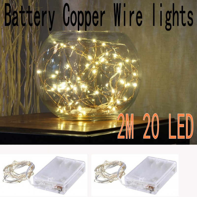 [2 Set]2M 20 leds Copper Wire String Fairy lights AA Battery Operated outdoor indoor for Christmas Holiday Wedding home Party