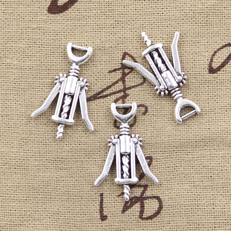 15pcs Charms wine opener 27*17mm Antique Silver Plated Pendants Making DIY Handmade Tibetan Silver Jewelry