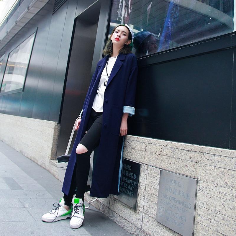 Longue Femmes Bleu pu Style Printemps 2016 Occasionnel Haute Section D'origine Manteau Vêtements twotwinstyle Nouveau Ciel fente Femelle De Lâche Street 6pt4qB4w