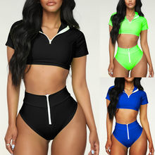 Buy Women Sport Zipper Bikini Push Up Pad Casual Suit Bikinis Swimwear Bathing Swimsuit Beachwear Set 2019 Trajes De Bano#30 discount