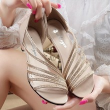 2016 Summer Shiny Bling Women Sandals 4cm heel Wedge Women's Casual Shoes Basic Sandals Flats Shoe Gold Silver