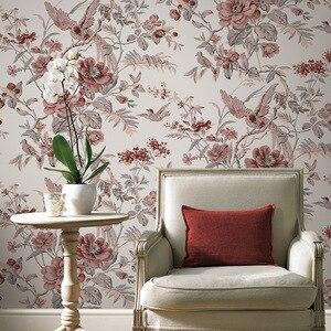 Image 1 - Красные винтажные обои с птицами и цветами, китайские цветочные обои для стен, спальни, гостиной, Деревянные Настенные бумаги, нетканые