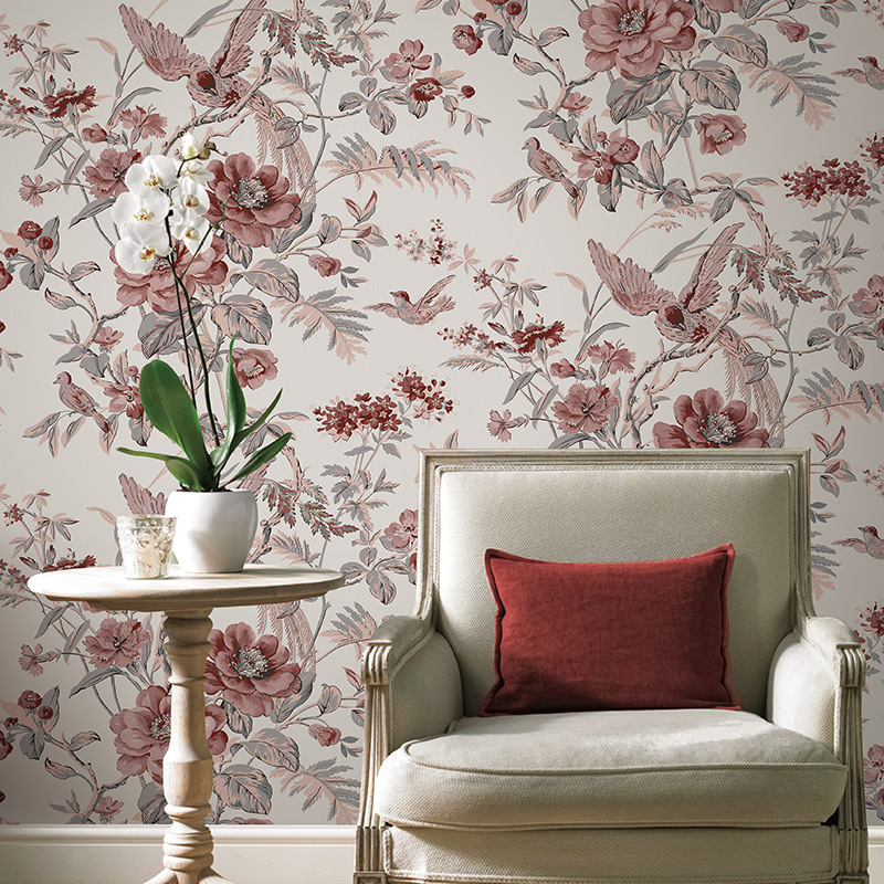 Red Vintage Birds And Flowers Wallpaper Chinese Floral