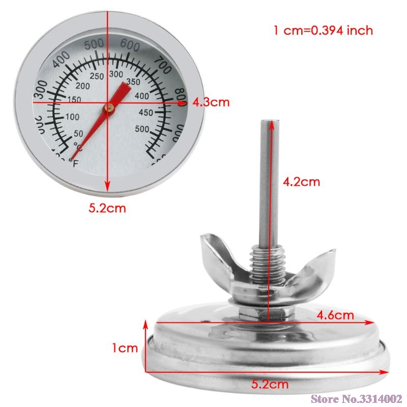 50-500C Stainless Steel BBQ Barbecue Smoker Grill Thermometer Temperature Gauge N28 Drop Ship
