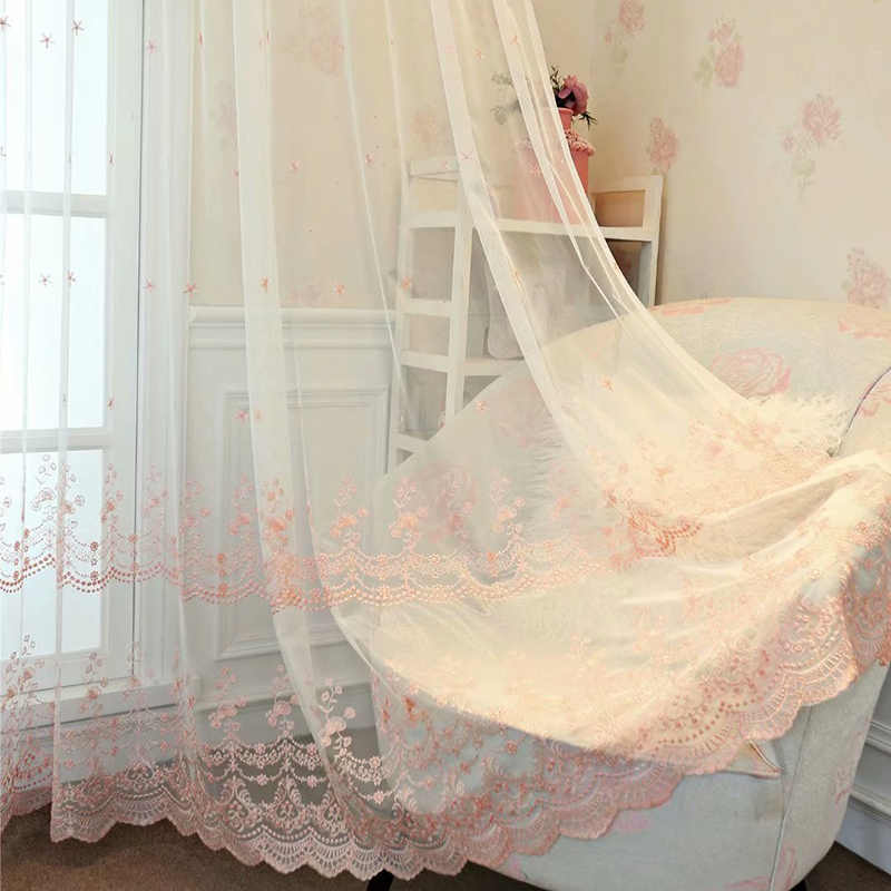 European Modern Luxury Sheer Volie Curtain Living Room White Pink Lace Floral Side Tulle Curtain Window Cortina Panel New M061D3