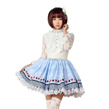 Милая синяя юбка в стиле Лолиты с принтом в виде покера кружевная отделка из полиэстера, японская летняя модная эластичная юбка для девочек