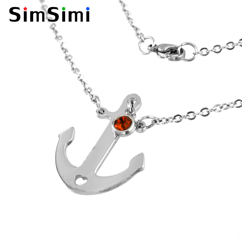 Jewellery & Watches Simsimi Birth Stone Double Layer Choker Women Necklace Stainless Steel Rolo Cable Chain Female Gift Necklace