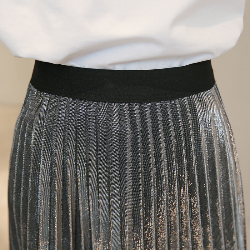 Image 2 - Danjeaner Women Autumn Winter Style Women's High Waist Pleated Fashion Solid Girl Half Length Skirt Breathble Long Length Saia-in Skirts from Women's Clothing