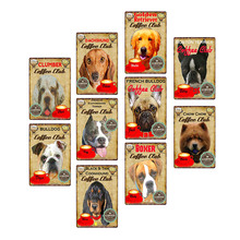 Dogs Coffee Plaque Metal Vintage Tin Signs Cafe Bar Wall Poster Pub Art Painting 20*30 CM