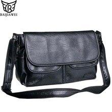 Baijiawei Для мужчин кожа сумка конверт Стиль сумка Водонепроницаемый Курьерские сумки Высокое качество Для мужчин кожаные Сумки дорожная сумка