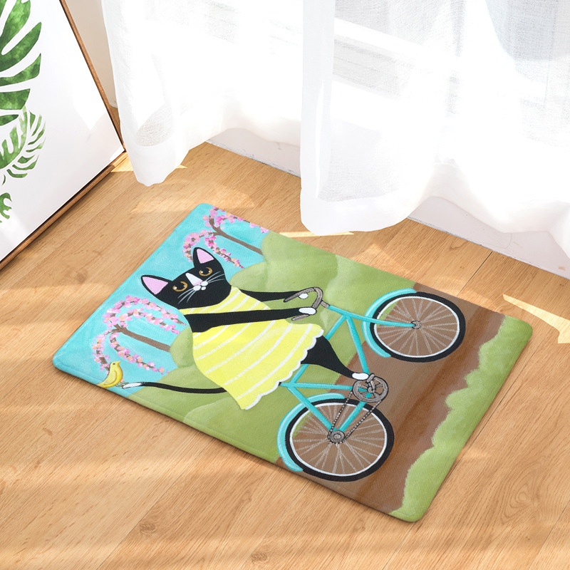 Flannel Waterproof Welcome Floor Mat Cute Cartoon Cat Bicycle Carpet Bedroom Rugs Decorative Stair Mats Home Decor Crafts