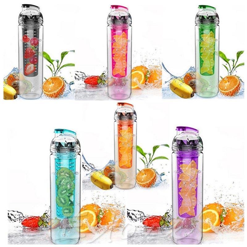 800ML Red cap Fruit Infusing Infuser Water Bottle with box Sports Health Lemon Juice Make Bottle