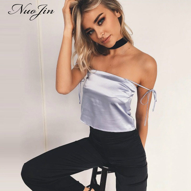 NuoJin Lace Up Crop Top Women Off Shoulder Satin top Camis Black Slim Clubwear Summer 2017 Sexy Beach Tank Top Mujers Camisole