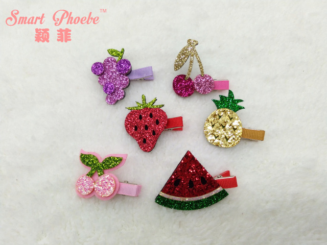 Boutique 30pcs Fashion Cute Glitter Cherry Grape Strawberry Hairpins Solid  Kawaii Pineapple Watermelon Hair Clips Headwear 2df06451f274