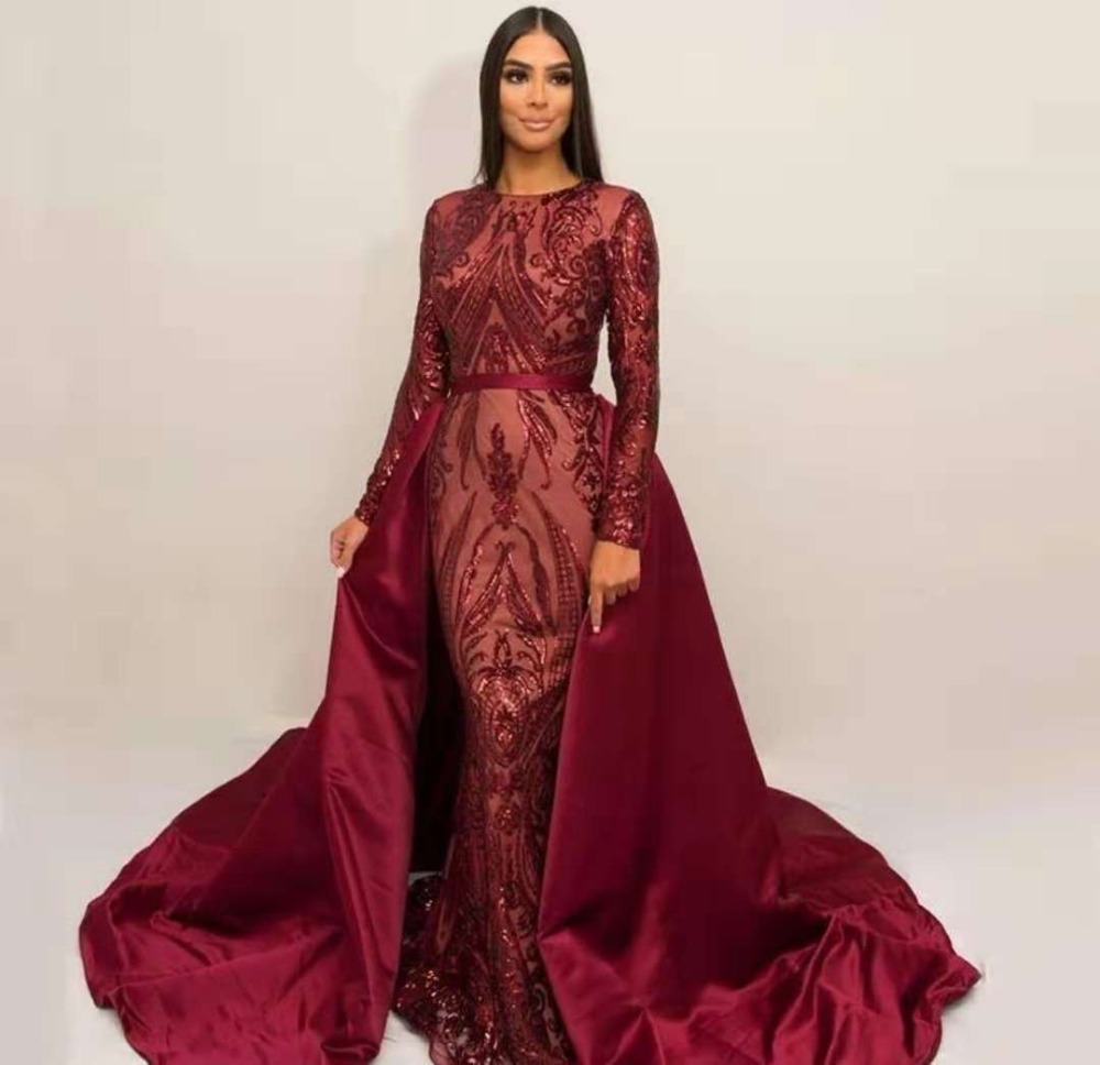 Robes De soirée De célébrité longues avec Train détachable femmes formelles manches longues Sequin robes De bal Robe De soirée De luxe