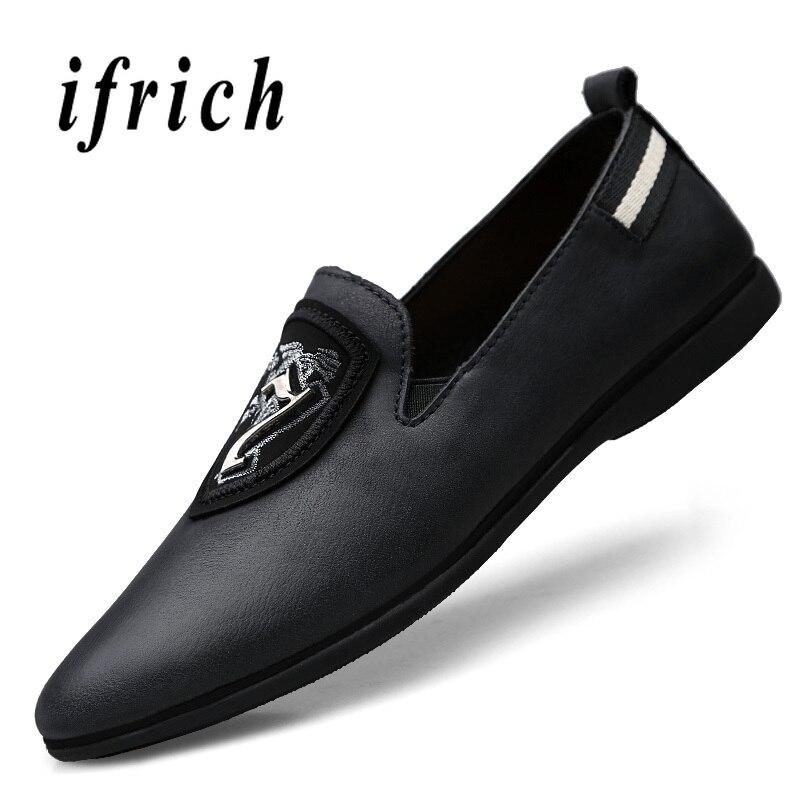 slip Paresseux Mode Marque De Luxe Pilote Mocassins Noir Véritable Appartements Pour Hommes Cuir Chaussures Black Non aav6qR