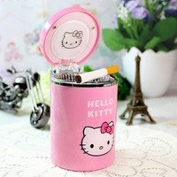 Portable Stainless Auto Car Cigarette Ashtray Ash Bin With Lid Cover And LED Light Pink Hello
