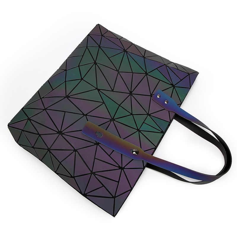 2018 Baru Tas Wanita Tas Geometri Totes Payet Cermin Reflektif Polos Lipat Tas Luminous Tas Hologram