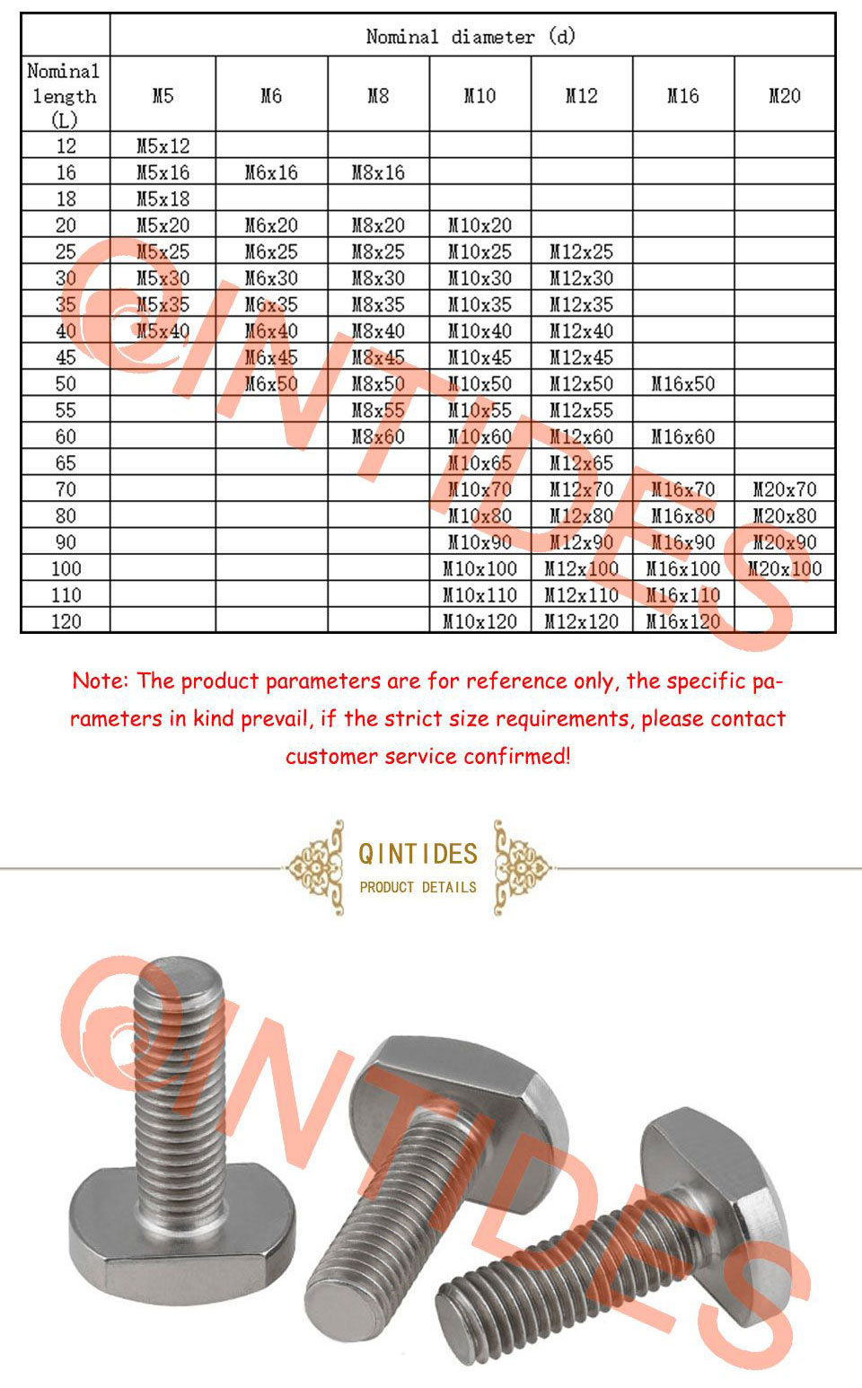 GB37 304 Stainless steel M6 M8 M10 Bolts for T-Slot T Head Slot Bolt