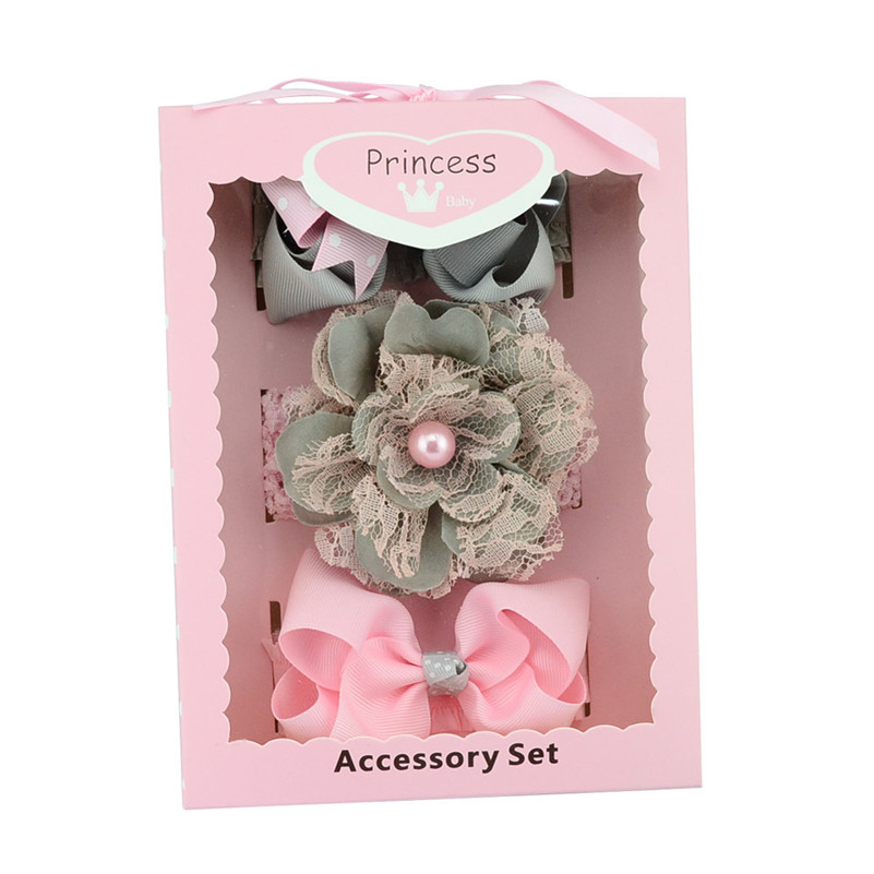 3PCS/SET Baby Hair Bows Flower Headband Set Lace Flower Crown Bowknot Eslastic Headbands for Girls Kids Hair Accessories Gifts