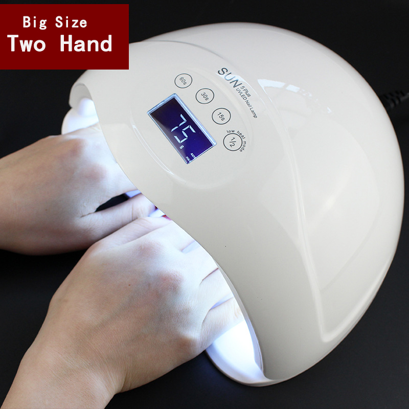 two hand 48W Dual UV LED Nail Lamp Nail Dryer Gel Polish Curing Light with Bottom 30s/60s/99s Timer LCD display
