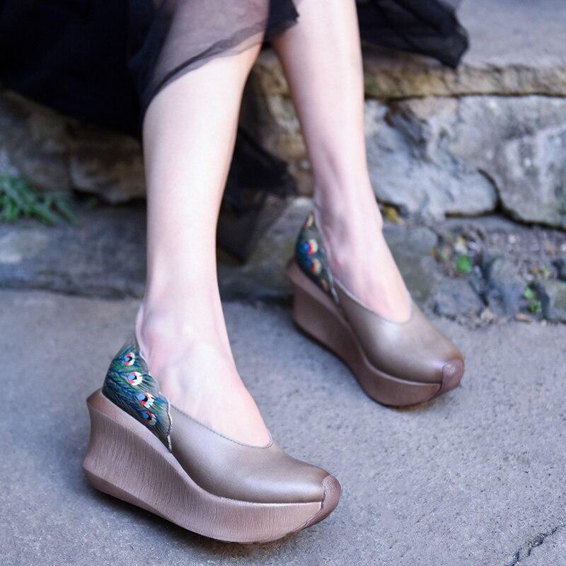 Artmu Original Peint à La Main Épaisse Semelle Femmes Chaussures Folk Style Cuir Véritable Plate-Forme Wedge Talons Talons hauts À La Main Pompes
