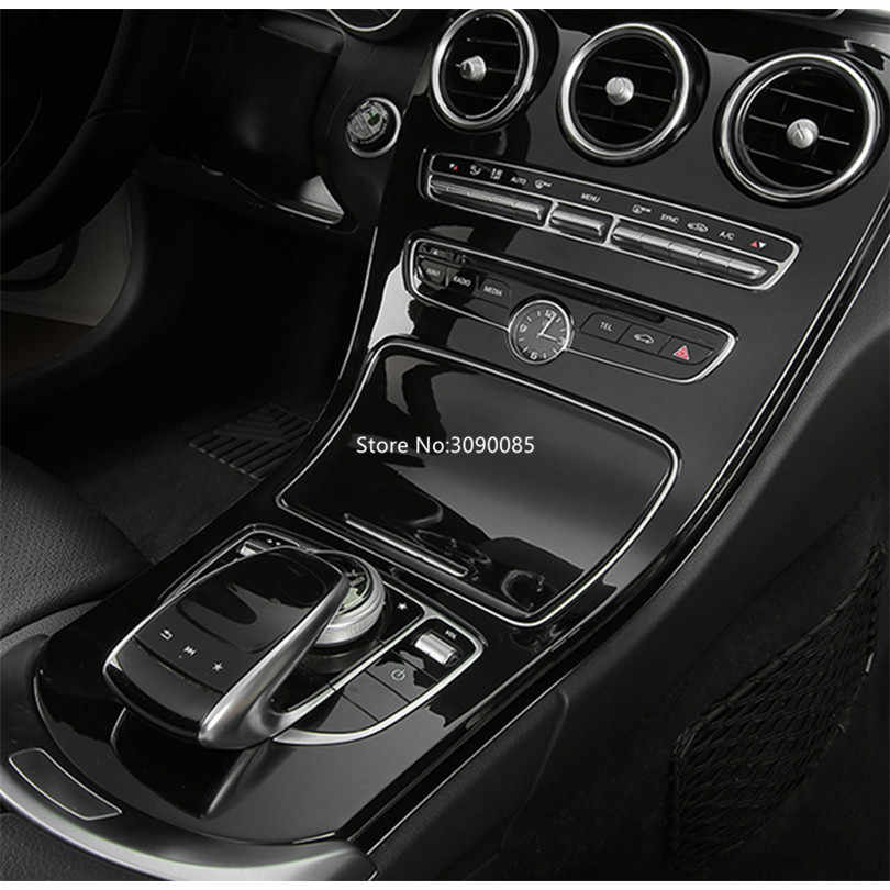 Without Clock LLKUANG ABS Piano Black Center Console Decoration Panel Cover Trim for Mercedes Benz C-Class W205 2015-2018,GLC X253 2016-2019