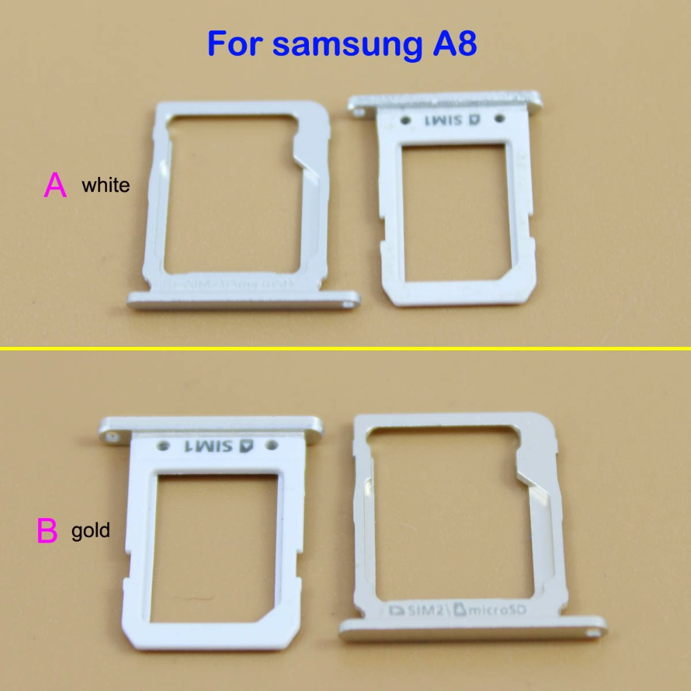 YuXi New SIM Card Holder Tray + SD Memory Card Tray Slot For Galaxy A8 gold/white