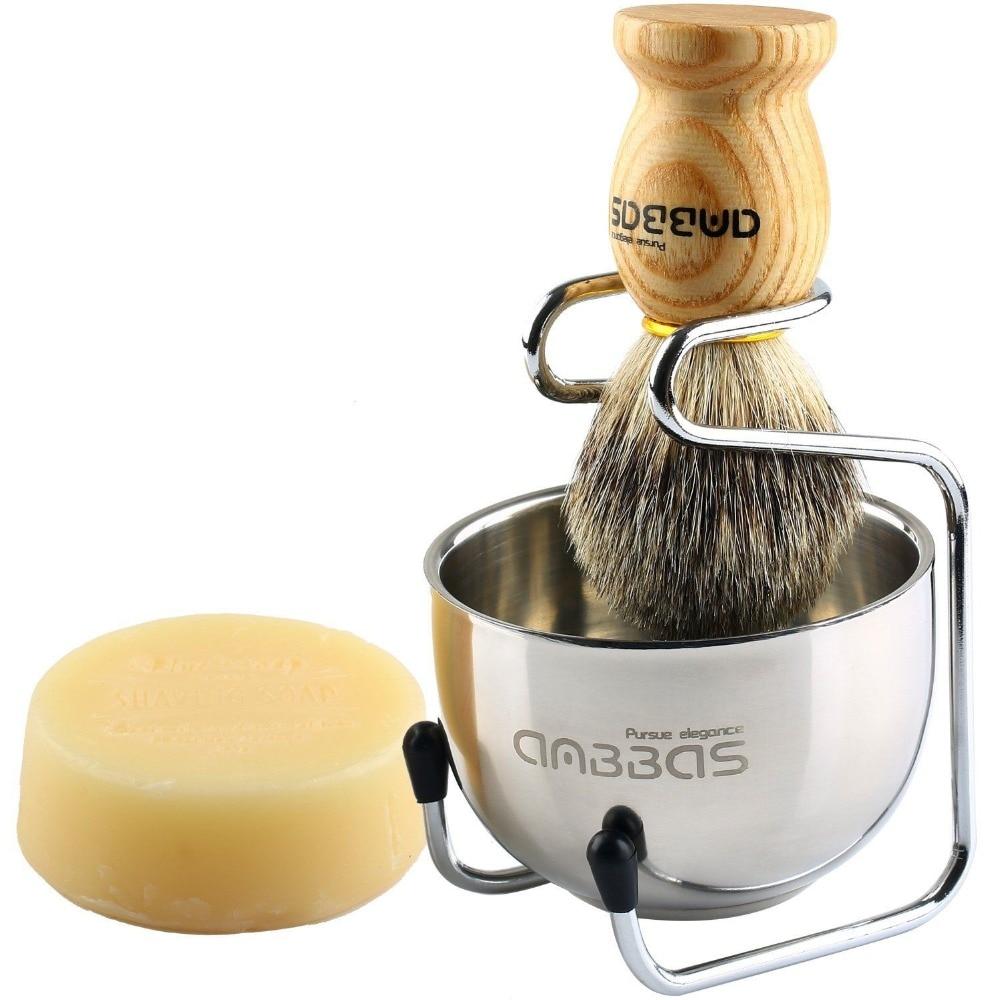 Anbbas 4in1 Men Shaving Brush Kit 100% Natural Badger Hair Brush Wood Handle Stainless Steel Holder Bowl Mug Soap Grooming Set 1