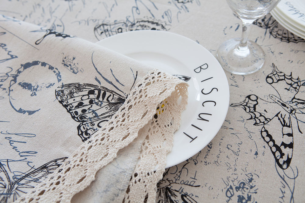 Image 5 - Countryside Letter Butterfly Print Tablecloth Lace Solid Rectangular Dining Table Cover Obrus Tafelkleed Kitchen Home Decorative-in Tablecloths from Home & Garden