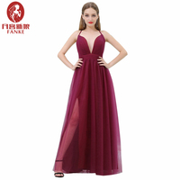 Cheap Long Evening Dresses 2017 A Line Deep V Neck Floor Length Simple Burgundy Evening Gown