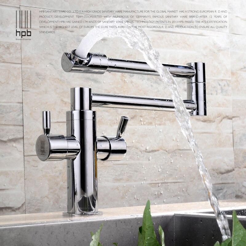 HPB Brass Chrome Deck Mounted Kitchen Pot Filler Faucet Sink faucets ...