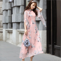 2019 Fashion Modern Ao Dai Dresses Women Traditional vietnam chiffon cheongsam modified chinese qipao style dress retro