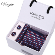 Vangise Gift box Packing Striped Tie Luxury Silk Ties for Men 145cm long High Quality Mens Ties Cravata 7.5cm Wide Male Neck Tie