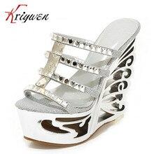 Big size34-39 women round toe high quality Strange Style peep toe utr 15cm high heels rhinestone party club shoes summer slides
