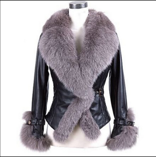 2015 winter warm Long coats women Fake fox fur leather jacket slim ...