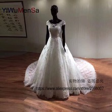 YiWuMenSa New Arrival Scoop Neck Wedding dresses 2017 vestidos de noiva Vintage wedding dress robe de mariage Custom made gowns