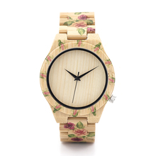 BOBO BIRD Flower Designer Men Wood Watches with Flower Printed on Wood Bands for Men Quartz