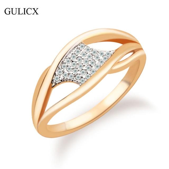 valentine gift jewelry fashion women unique ring gold color ring crystal cz zircon wedding midi