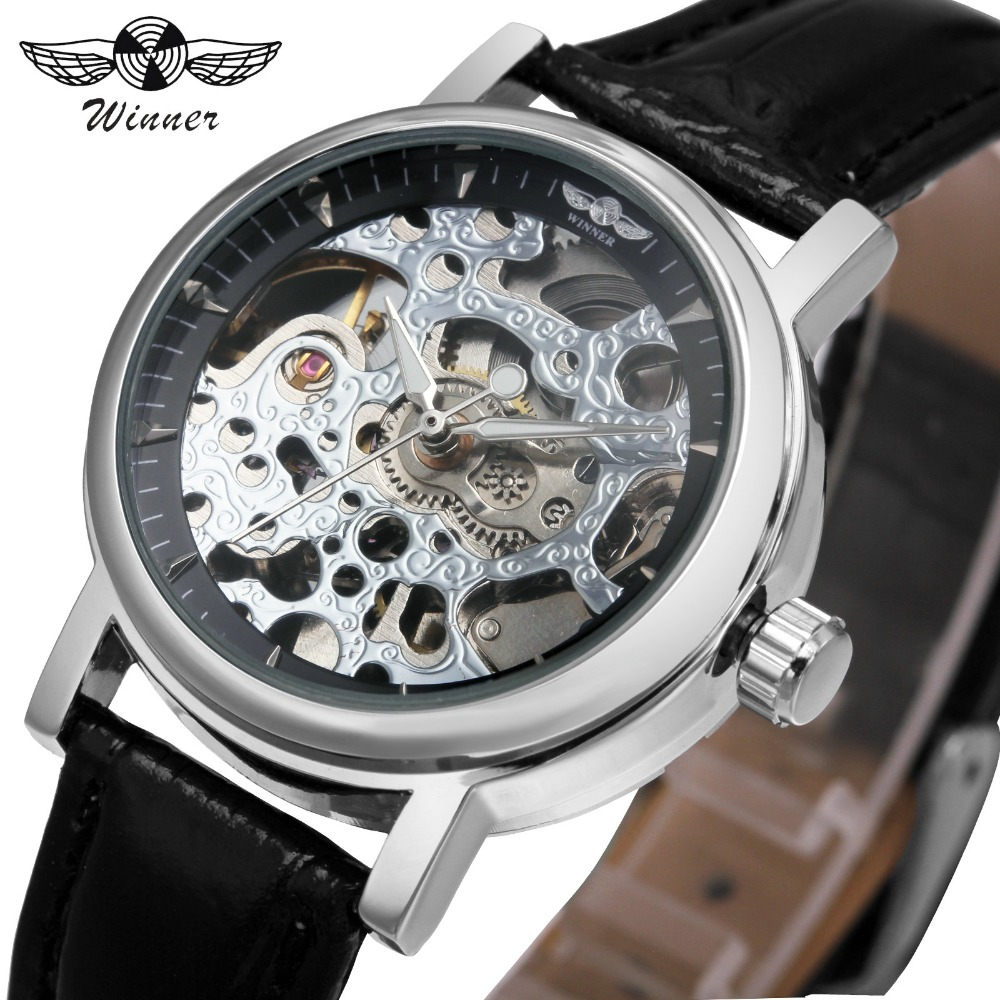 цена на WINNER Luxury Brand Women Mechanical Watch Leather Strap White Skeleton Retro Dress Self-wind Business Wristwatch + GIFT BOX