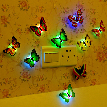 LED 7 Colorful Butterfly Lamp Night light moon lamp wall sticker