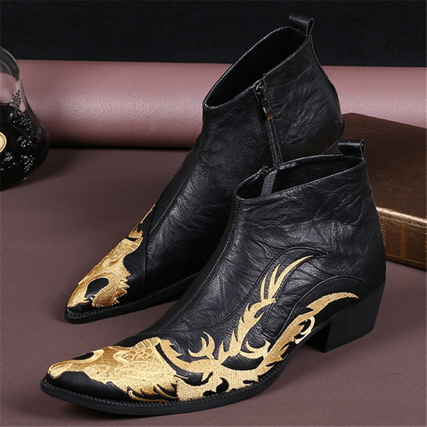 New dragon embroidered pointed toe men black ankle boots for Black shoes with wedding dress