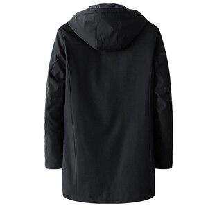 Image 3 - Heren Herfst Casual Lange Jas Trenchcoats Mannen Mode Hooded Solid Elastische Windjack Pocket Geul Jassen Mannelijke Kleding