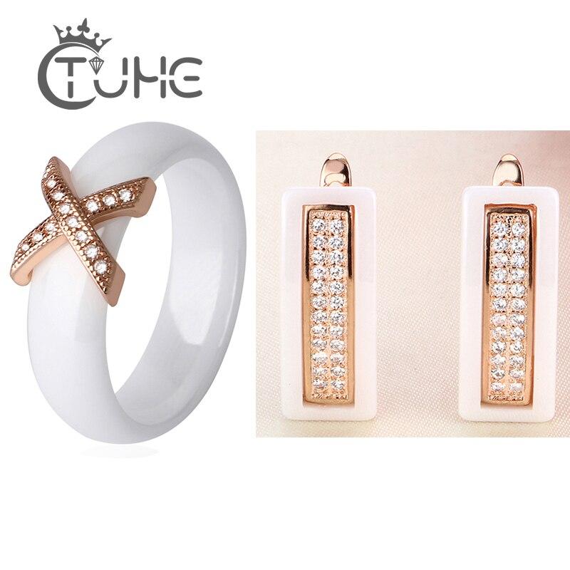 Vintage 585 Rose Gold Schmuck Sets Für Frauen Mit CZ Cubic Zirkon Klassischen Stil Schwarz Weiß Keramik Stud Ohrringe X kreuz Ring