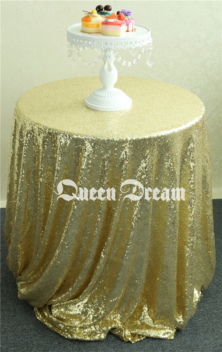 Sparkly Round Light Gold Sequin Fabric Dinner Tablecloth, Best  Wedding/Home/Party Fashion