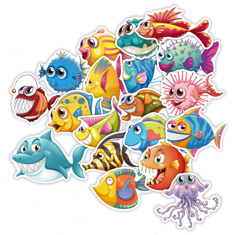 TD ZW 40 Pcs/Lot Cute Cartoon Sea Fishes Stickers For Car Laptop Skateboard Pad Bicycle PS4 Phone Luggage Decal Toy Sticker