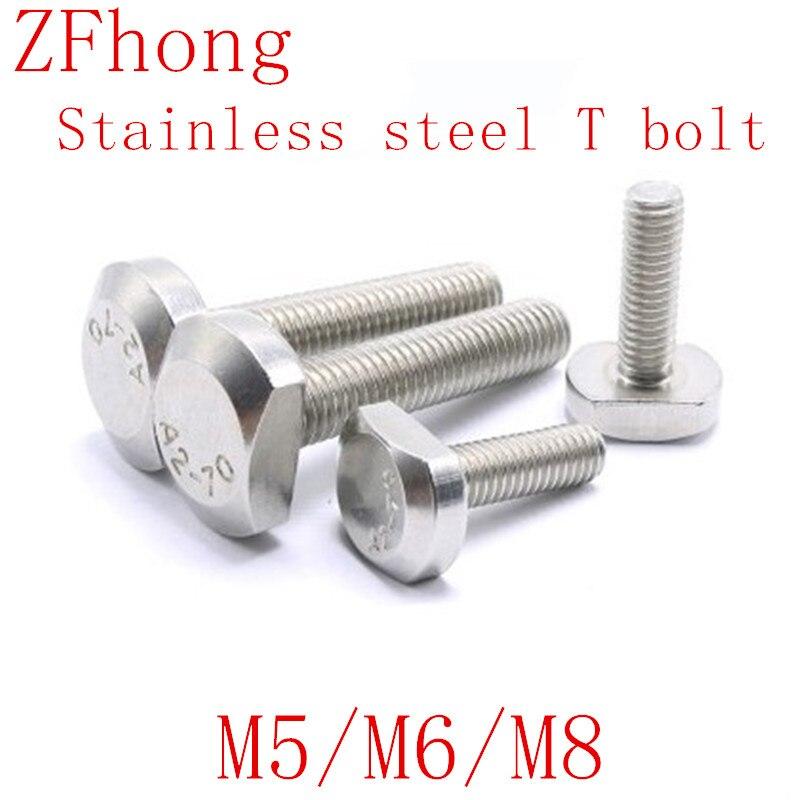 2-5pcs M5 M6 M8 Bolts For T-Slot GB37 Stainless Steel T Bolt T Screw Square Bolts T-head Screw Chute T-bolt